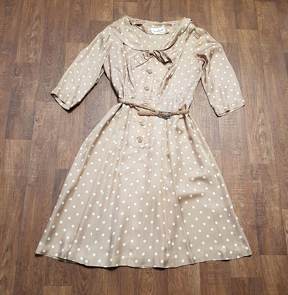 Vintage 1940s Susan Small Coffee Polka Dot Day Dress UK Size 14