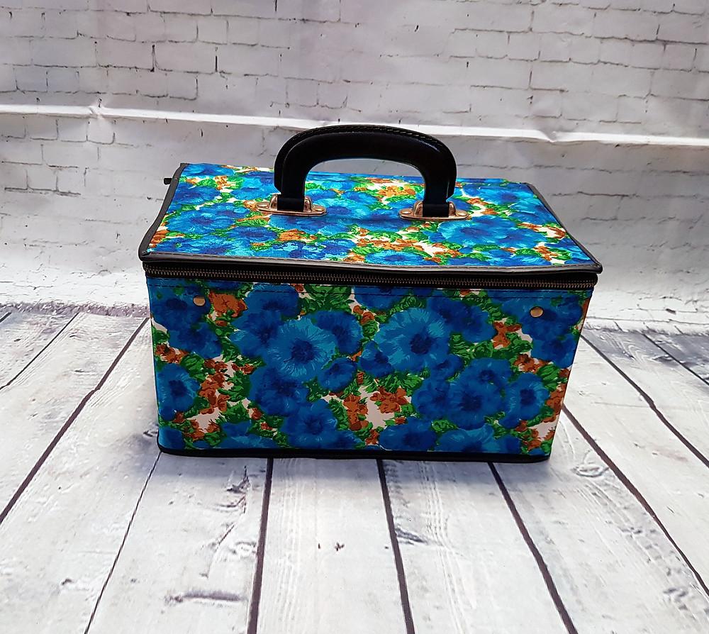 Vintage 1960s Blue Floral Vanity Case