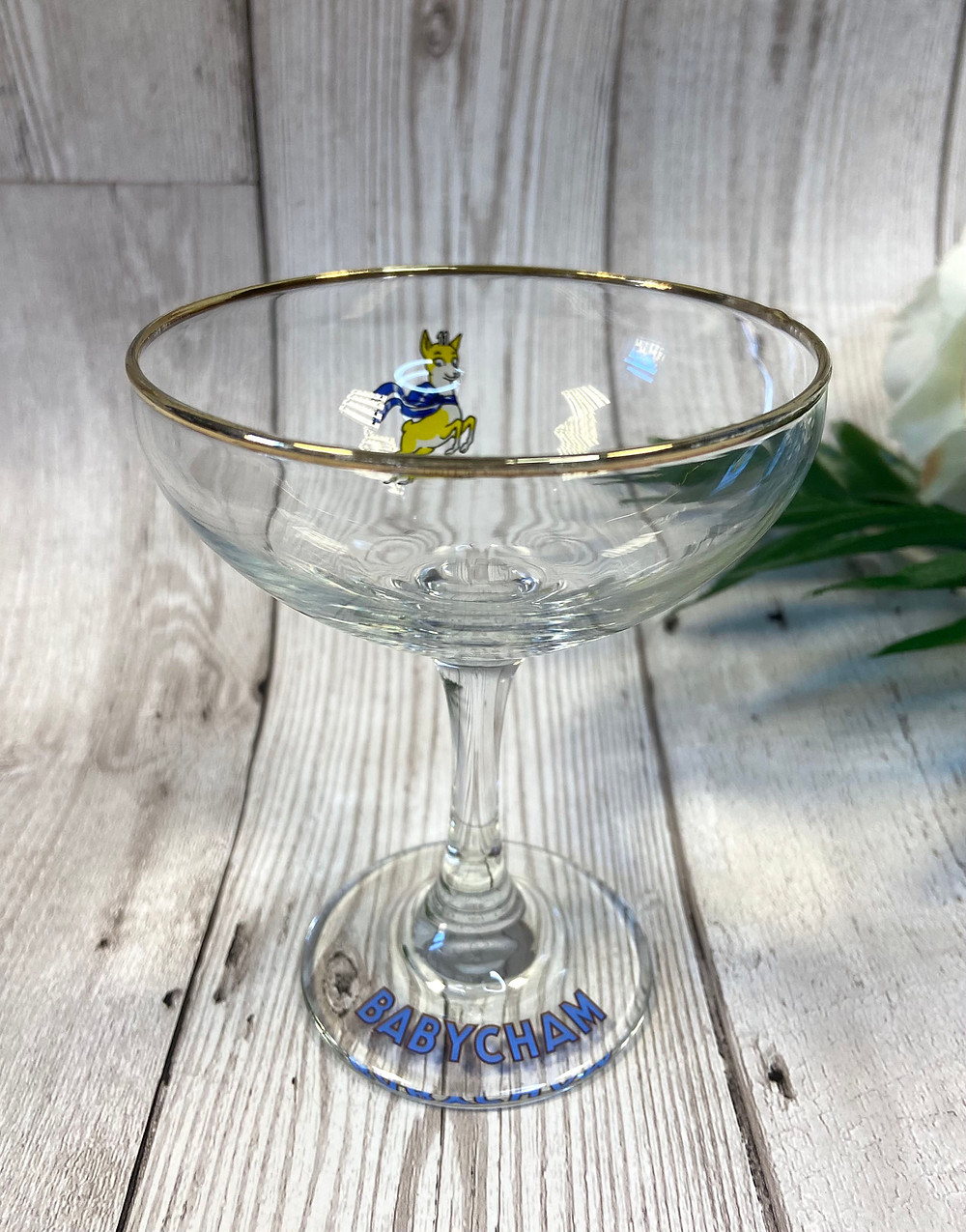 Original 1970s Gold Fawn Babycham Glass