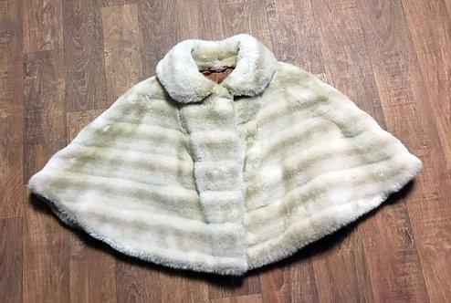 1950s Vintage Tissavel Cream Faux Fur Cape One Size