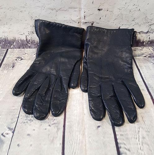 Vintage Gloves | 1970s Gloves | Unique Vintage | Navy Leather Gloves