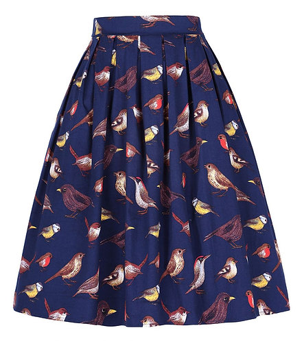 Vintage Inspired Navy Bird Print Swing Skirt