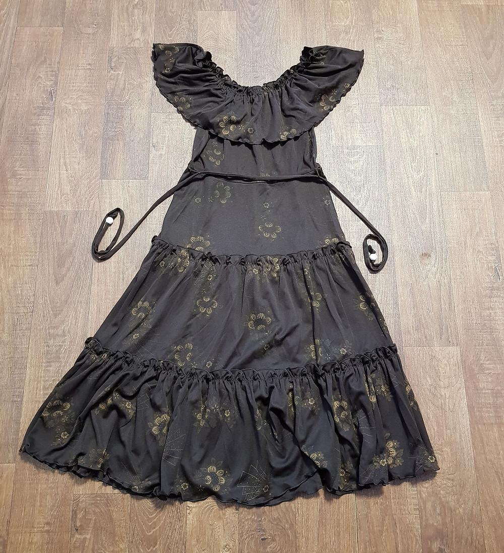 1970s Vintage Brown Tiered Boho Gypsy Dress UK Size 10
