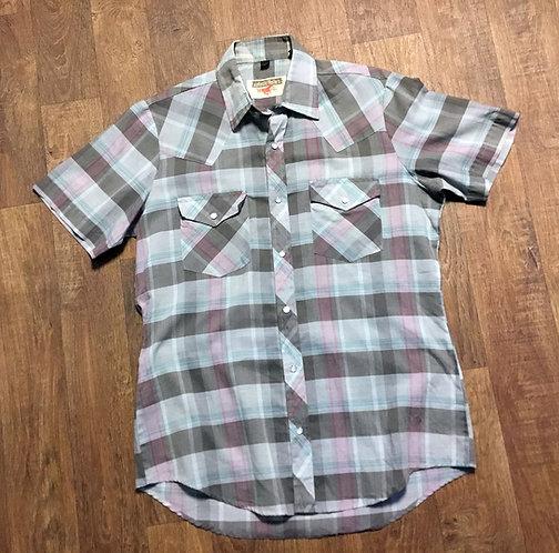 Mens Vintage 1970s Short Sleeve Check Western Shirt UK Size Medium