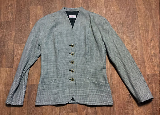 1980s Vintage Karl Lagerfeld Monochrome Blazer/Jacket UK Size 14