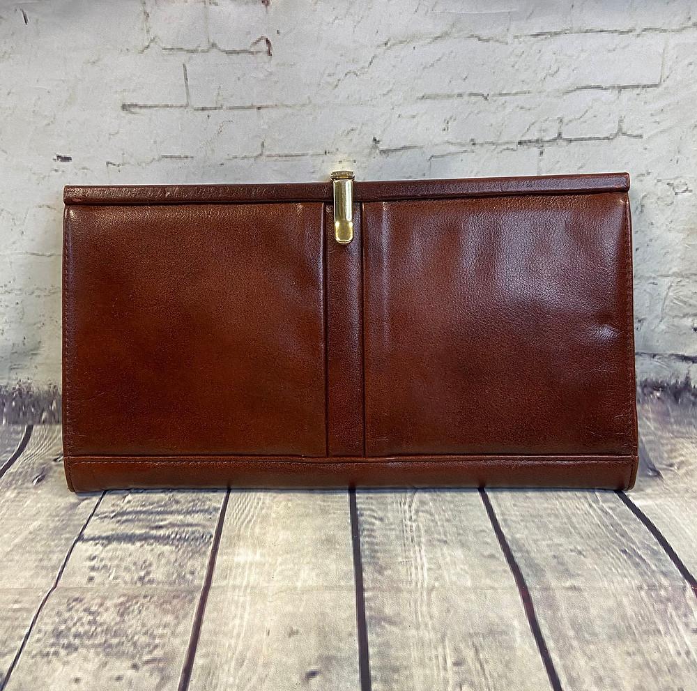 1970s Vintage Brown Leather Clutch Bag