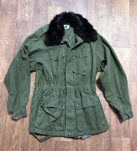 Original Vintage Military Coat with Faux Fur Collar UK Size 8/10