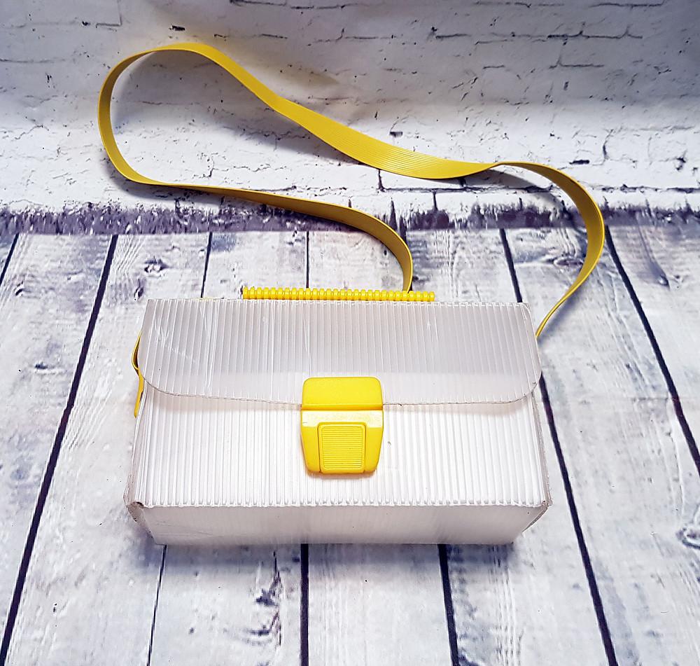 1960s Vintage Mid Century Plastic Box Shoulder Bag - Yellow