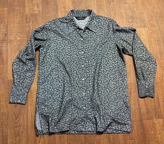 Vintage 1980s Silver Grey Metallic Floral Shirt UK Size 14