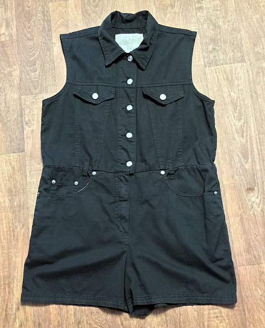 Vintage 1990s Black Denim Style Fitted Playsuit UK Size 12/14