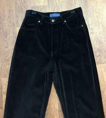 Vintage 1990s Black Velvet Mum Jeans UK Size 12