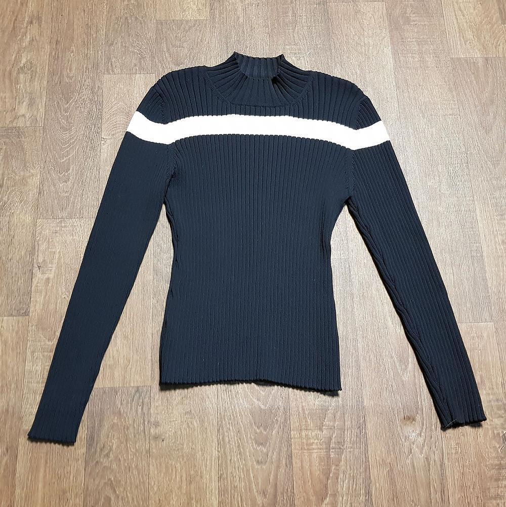 1980s Vintage Mondi Black Ribbed Jumper Size 8/10