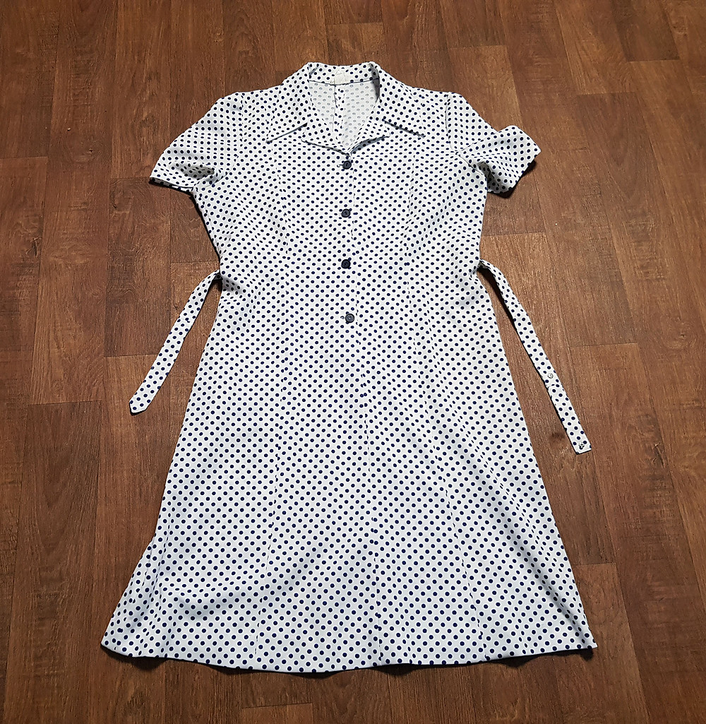70s Vintage Dress | 1970s Vintage Polka Dot Shirt Dress UK Size 18