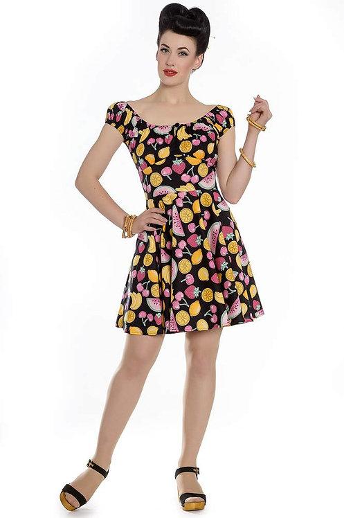 Quirky Retro Tutti Frutti Print Mini Swing Dress