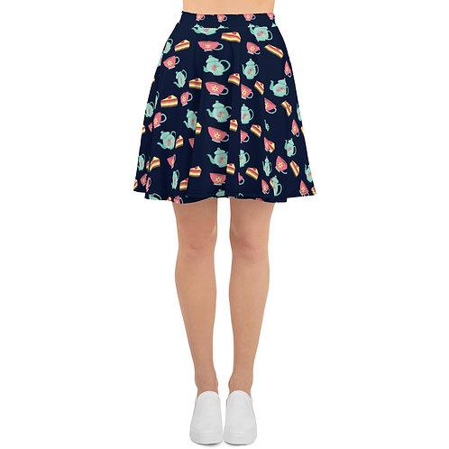 Cute Retro Tea Party Skater Skirt - Dark Blue