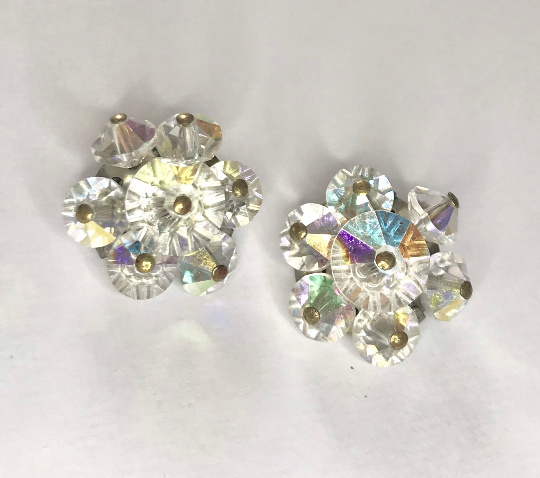 1950s Vintage Crystal Daisy Clip On Earrings