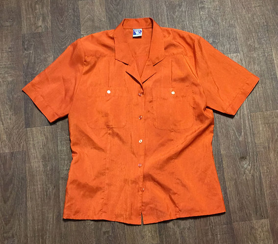1980s Vintage Orange Silky Safari Shirt UK Size 14
