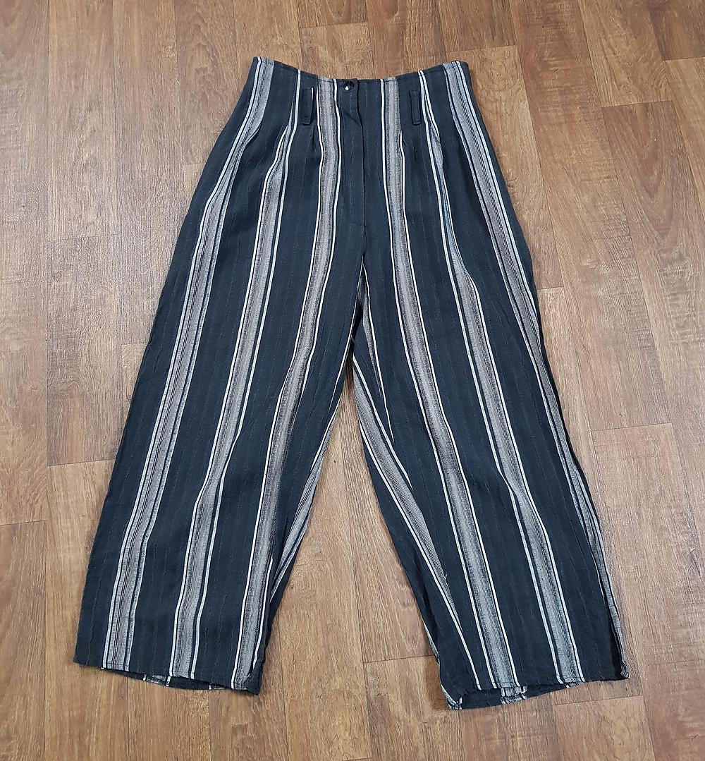 1990s Vintage Striped Wide Leg Trousers Size 10