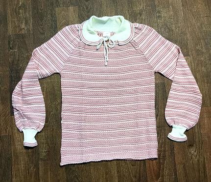 Vintage 1970s Deadstock Pink/Cream Striped Jumper UK Size 10/12