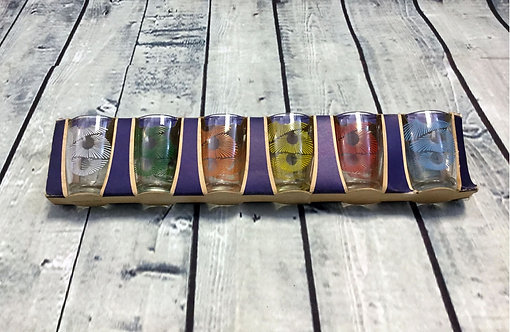 Original 1960s Vintage Colourful Shot Glasses Retro Collectables