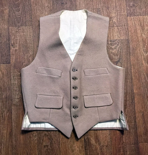 Mens Vintage 1960s Beige Wool Waistcoat Size Small
