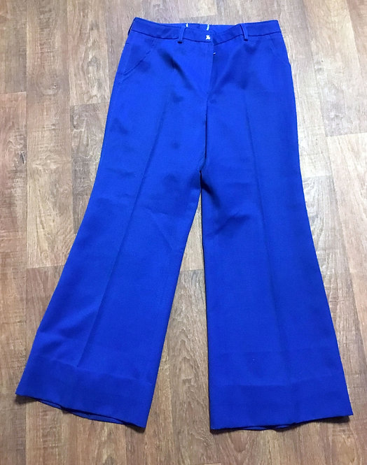 1970s Vintage Mid Blue Trevira Tailored Flares/Flared Trousers UK Size 12