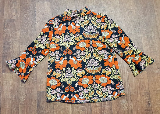 Retro Top | Bold Floral Top | 70s Style Top | Retro Clothing