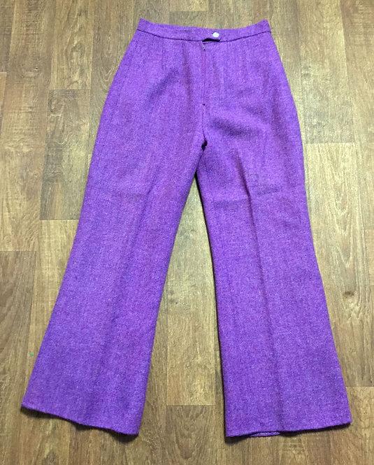 1970s Vintage Purple High Waisted Wool Flares UK Size 10