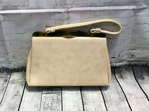 Vintage Handbag | 1960s Handbag | Cream Handbag | 60s Style