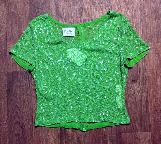 Vintage Dusk by Frank Usher Lime Green Crop Sequin Top UK Size 10