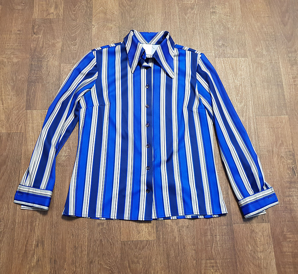 1970s Vintage Blue Striped Shirt UK Size 12