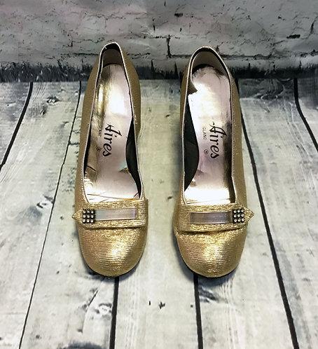 1960s Vintage Gold Mod Shoes UK5 EUR38