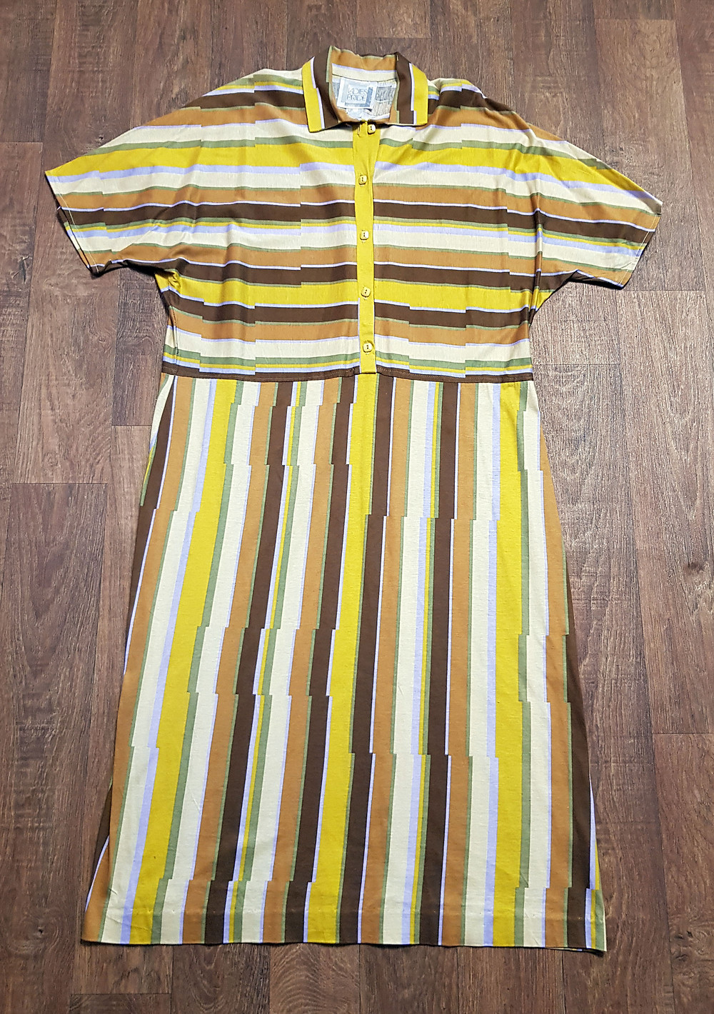 1970s Vintage Mustard Striped Shirtwaister Dress UK Size 18