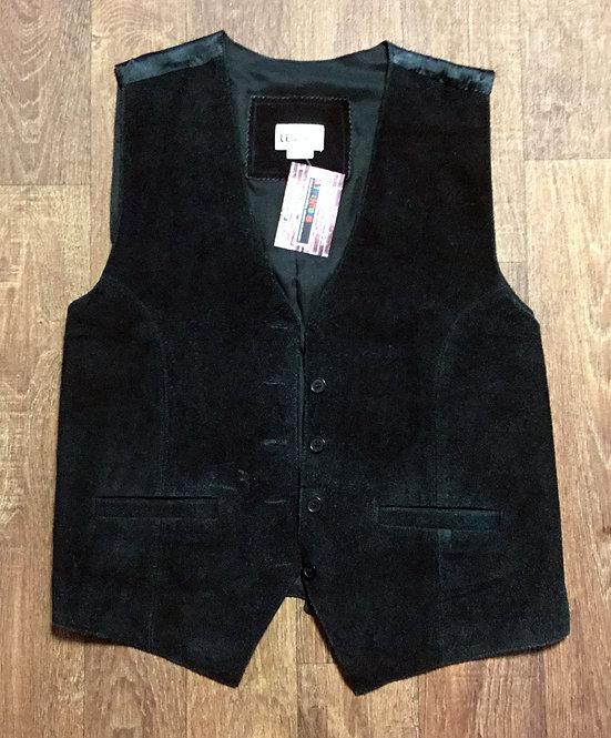 Mens 1970s Vintage Black Suede Waistcoat UK Size Medium