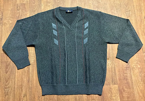 Mens Vintage 1970s Charcoal Gabicci V-Neck Jumper UK Size Large