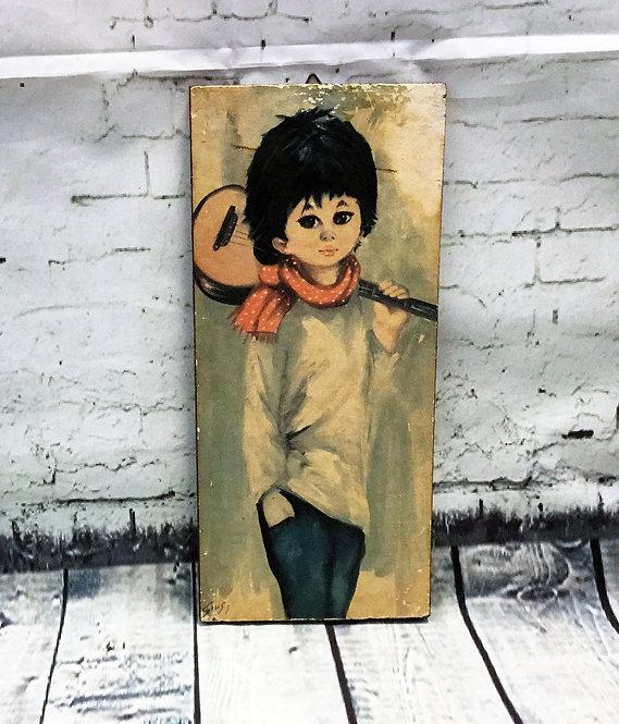 Original 1970s Vintage Boy with Guitar Wooden Plaque/Picture