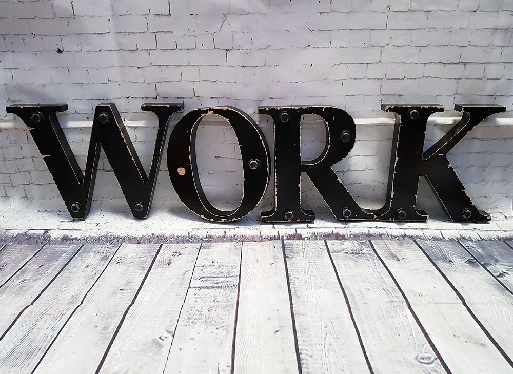 Vintage Retro Large Black Wooden WORK Letters