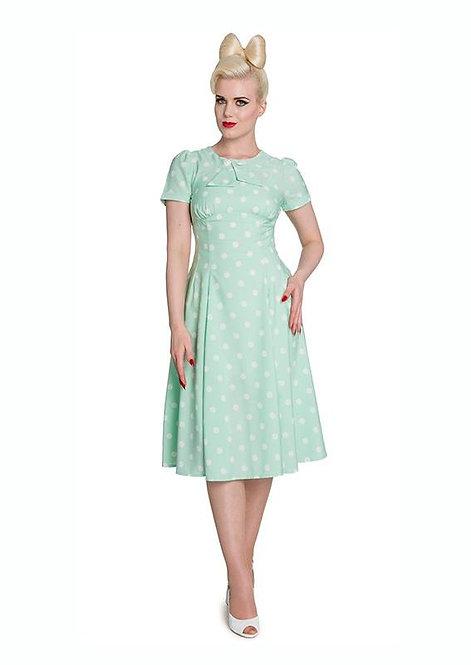 1940s Vintage Inspired Pastel Mint Green Polka Dot Tea Dress
