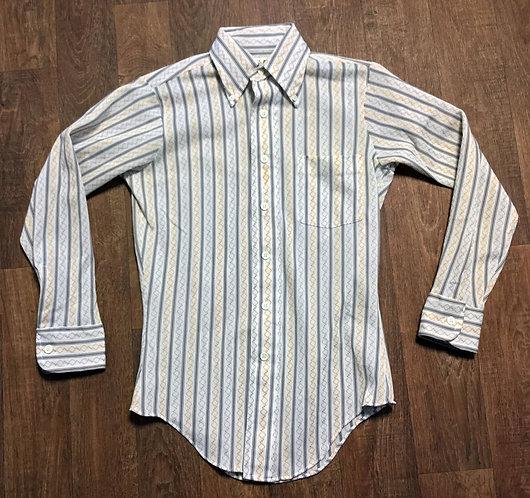 Mens Vintage 1970s Striped Patterned Shirt UK Size Medium