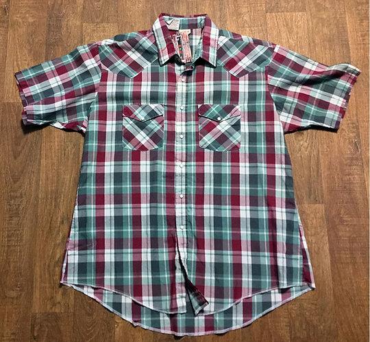 Mens Vintage Plaid/Check Short Sleeve Western Shirt UK Size XXL