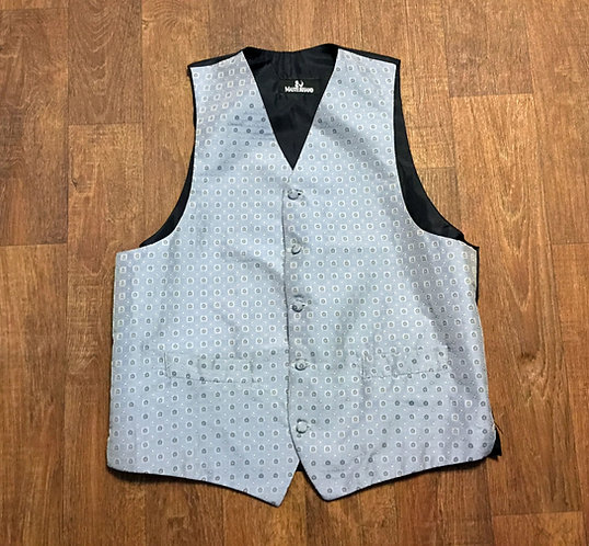Mens Vintage 1980s Silver Patterned Waistcoat UK Size Medium