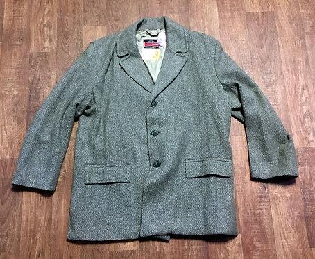 Mens 1960s Vintage Khaki/Grey Wool Mix Overcoat Size XL