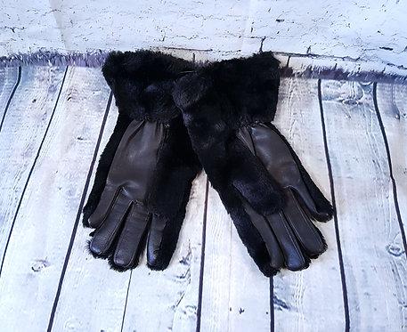Vintage 1970s Black Faux Fur Winter Gloves Size 9 (L)