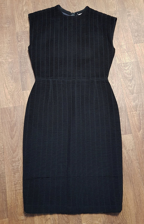 1980s Vintage Gianni Versace Black Ribbed Pencil Dress UK Size 10/12