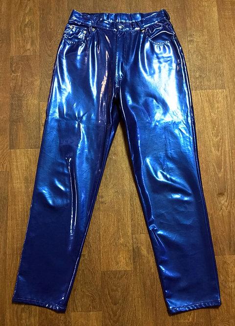 WOW! 1970s Vintage Petrol Blue PVC Plastic Disco Pants UK Size 10