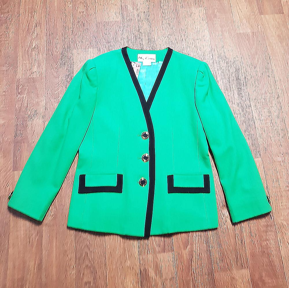 1980s Vintage Oleg Cassini Green Wool Jacket UK Size 14/16