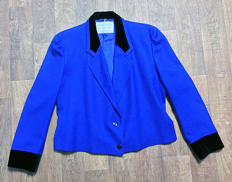Vintage 80s Electric Blue Wool Jaeger Crop Jacket UK Size 14