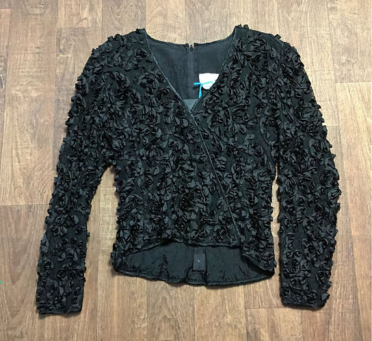 Vintage 1980s Frank Usher Black Swirled Ribbon & Lace Top UK Size 10