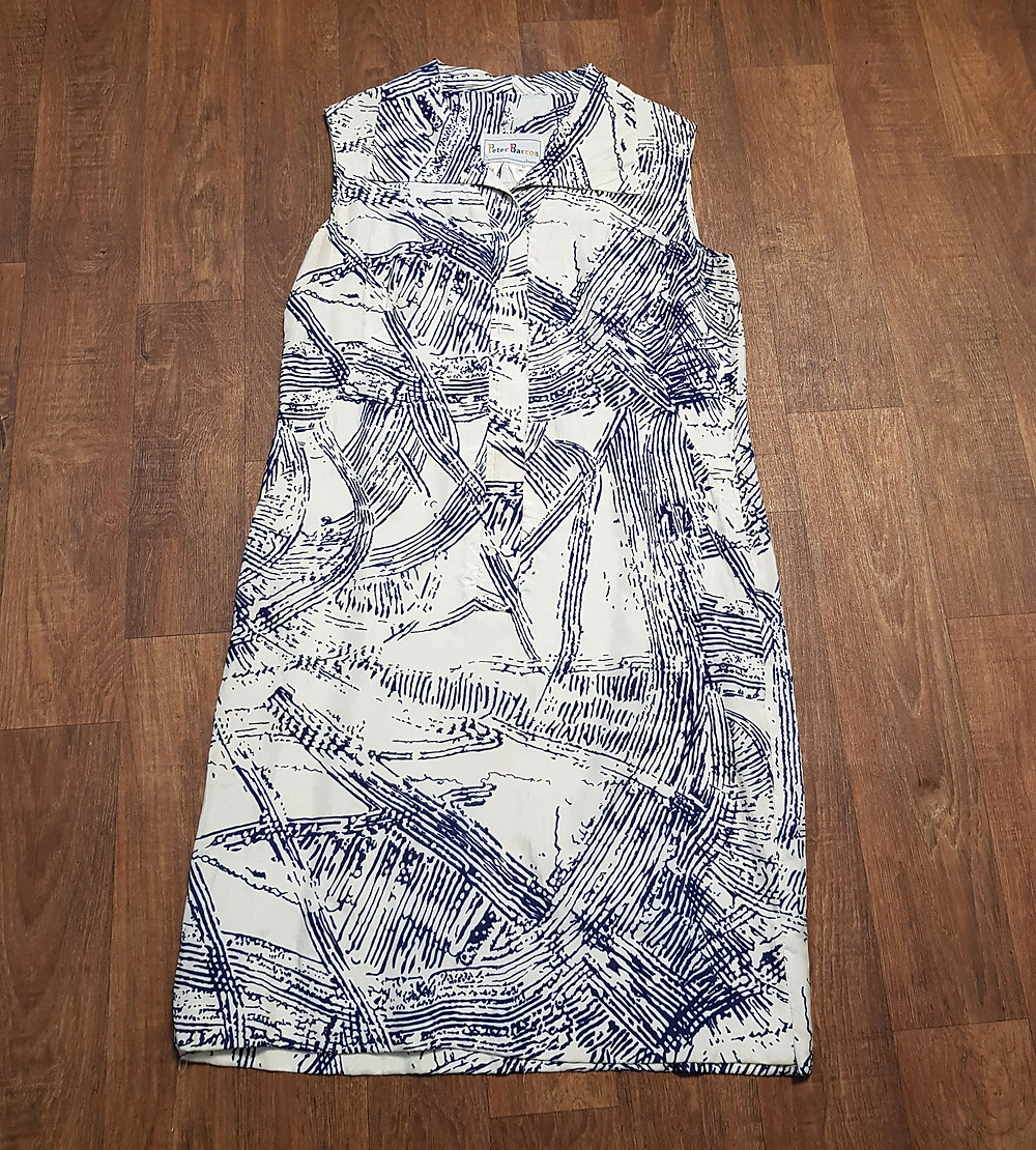 1970s Vintage Peter Barron Printed Silk Shift Dress UK Size 14
