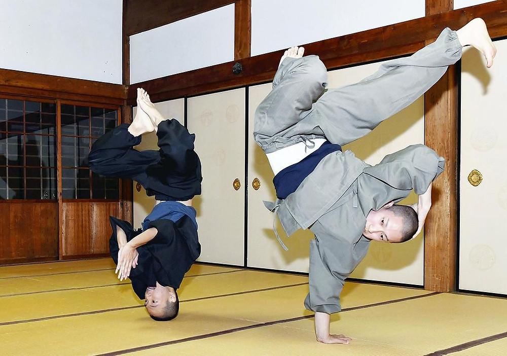 young monks in Kyoto break dancing